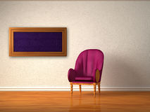 Alone luxurious chair with frame in room Stock Photography