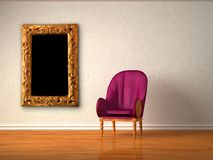 Alone luxurious chair with modern frame Royalty Free Stock Photography