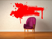 Alone luxurious chair with red splashes Royalty Free Stock Image