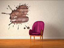 Alone luxurious chair with splash hole Stock Photography
