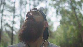 Alone man with a beard and cap in the forest. He looks up at trees. Traveler man examines the terrain, admires the forest nature. A lone hipster tourist looks stock video