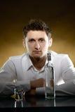 Alone man drinking vodka Stock Photo