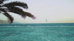 Alone man kite surfing in red sea with strong wind and waves on horizon, Dahab Egypt. People windsurfing and kite