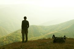 Alone Man Overview Landscape Stock Images