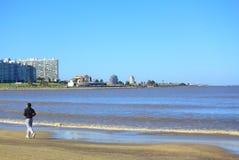 Alone man run along seaside in Montevideo Royalty Free Stock Photo