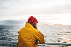 Free Alone Man Traveling At Scandinavian Authentic Ocean Landscape By Ship Stock Photo - 158590770
