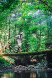 Alone man in wild forest. Travel and adventure concept. Landscape photography royalty free stock images