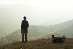 Alone men overview landscape Stock Images