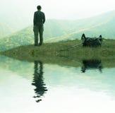 Alone men overview landscape stock photos