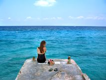 Alone with my Blue Cozumel Stock Photo