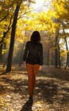 Alone in the park. Woman strolling alone  in the park Stock Photography