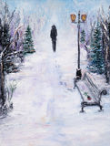 Alone in park. Original  abstract oil painting of beautiful  winter landscape on canvas.Lonely man in park.Winter scene.Modern Impressionism, modernism, marinism Royalty Free Stock Photo
