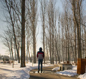 Alone in the park. Walking away from the cold winter Stock Photo