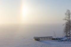 Alone parziale e pilastro in un lago congelato & nevoso Immagini Stock Libere da Diritti