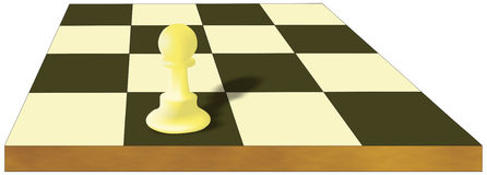 Alone pawn. Alone white pawn on the chessboard Stock Photo
