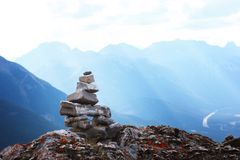 Alone on the peak on mountain Royalty Free Stock Images