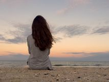 Alone person at sunset Royalty Free Stock Image