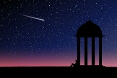 Alone person is waiting. In front of gazebo, night sky full of stars stock illustration