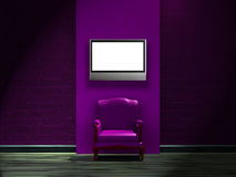 Alone purple chair with LCD tv on the wall Stock Photos