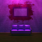 Alone purple couch with grunge frame Stock Image