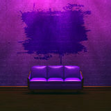 Alone purple couch in purple minimalist interior Royalty Free Stock Photos