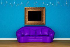 Alone purple sofa with picture frame Stock Images