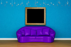 Alone purple sofa with picture frame. In blue room Royalty Free Stock Photos