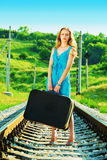 Alone on railway Royalty Free Stock Photo