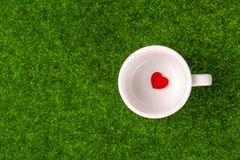 Alone red heart. Shape in blank cup on grass Stock Photo