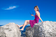Alone on the rocks Royalty Free Stock Photography