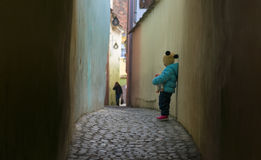 Alone sad child lost on a street Royalty Free Stock Images