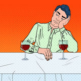 Alone Sad Man Drinking Wine in Restaurant. Pop Art illustration Stock Photo