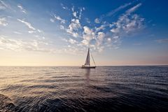 Alone Sailing Ship Yacht Stock Images