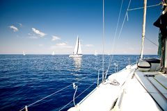 Alone sailing ship yacht Royalty Free Stock Image