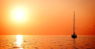 Alone Sailing Ship Yacht Stock Photography