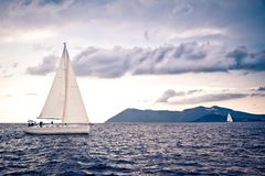 Alone sailing ship yacht Royalty Free Stock Images