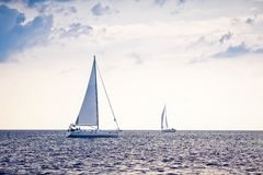 Alone Sailing Ship Yacht Royalty Free Stock Photos
