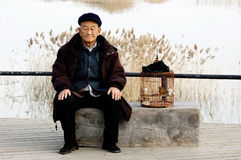 Alone senior man and birdcage stock images