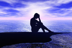 Alone sitting man. An illustration featuring the silhouette of a man sitting alone on sea shore at sunset, perhaps thinking, depressed Royalty Free Stock Photos