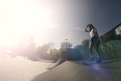 Alone in skate park. Young beautiful woman is alone in skate park stock photography