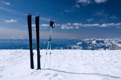 Alone ski Royalty Free Stock Images