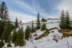 Alone small house at the top of mountain Royalty Free Stock Photography