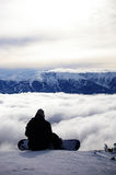Alone on the snowy peaks. royalty free stock image