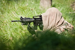Alone soldier defending his ground Stock Photos