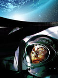 Alone in space. Astronaut alone in his spacecraft, observing the Earth above his head Stock Image