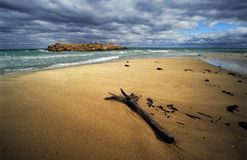 Alone before storm at the sea. Tunisia in winter time, before storm Royalty Free Stock Images