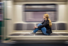 Alone in the subway Royalty Free Stock Images