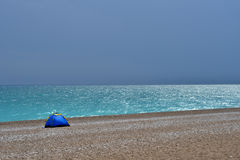 Alone tent on the beach Royalty Free Stock Photo