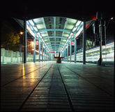 Alone in train station Royalty Free Stock Image