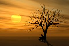 Alone Under Tree At Sunset royalty free illustration